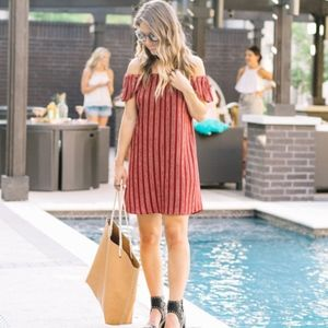 Everly Red dotted striped off the shoulder dress